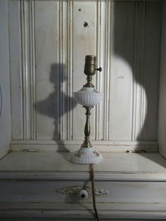 Beautiful Antique Milk Glass Lamp With Cloth Covered Cord - Circa 1930