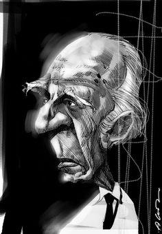 Borges todo el año: Jorge Luis Borges: «La estatua casera» de Adolfo Bioy Casares - Imagen: Caricatura de Adolfo Bioy Casares por Andrés Alvez