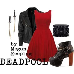 """""""Deadpool"""" by megskeeping on Polyvore...I love this! Just add a dead pool mask & good to go!"""