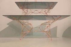 Tom Dixon new Table Collection I Pylon Table I Glas Tisch I   Salone Del Mobile 2014