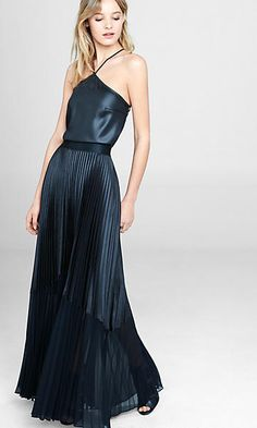 Strappy Back Cami & High Waisted Pleated Maxi Skirt