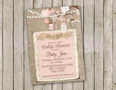 Rosa tarro de masón y arpillera bebé ducha por PartyGirlPress