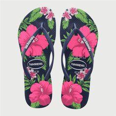 da6a8a632b536c Havaianas Women s Slim Floral Print Thong Sandal Navy Blue Chinelos  Femininos