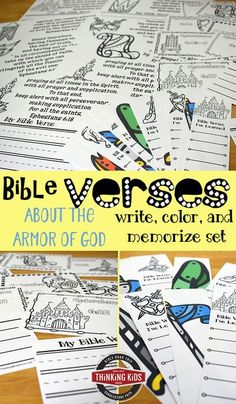 Bible Verses about the Armor of God for Kids: Write, Color, & Memorize Set Help your children commit Ephesians 6:10-18, Bible verses about the armor of God, to memory with this fun Write, Color, and Memorize Set. via @DanikaCooley Bible Crafts For Kids, Bible Study For Kids, Kids Bible, Bible Verses About Love, My Bible, Bible College, Printable Activities For Kids, Armor Of God, Bible Knowledge