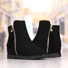 Ghete Dama Negre Cu Platforma Cod: 296P Wedges, Boots, Fashion, Crotch Boots, Moda, Fashion Styles, Shoe Boot, Fashion Illustrations, Wedge