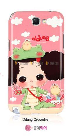 Galaxy Note 2 DDung Cute Korean Doll Hard Case Ddung Crocodile