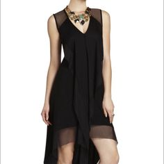 BCBGMAXAZRIA Cydnee Draped Cascade-Front Dress Black BCBGMAXAZRIA draped cascade-front dress. V-neck, sleeveless, mesh trim at shoulders, top back and skirt hem. BCBGMaxAzria Dresses High Low
