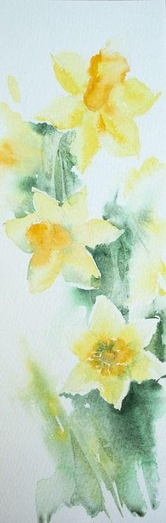 Dancing in the Breeze - Daffodil painting, Spring Floral Art, Original Watercolour Painting by Anjana Cawdell