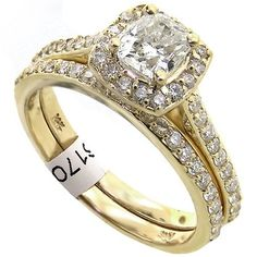 All 14kt Yellow Gold Two Band Set With .68ct. Center Cushion Cut Diamond (5mm) And .61ct Of Diamondsall 14kt Yellow Gold $2,425