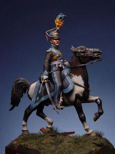 Model of an officer of Brunswick Uhlans (lancers) at the battle. Note the all-black uniform.
