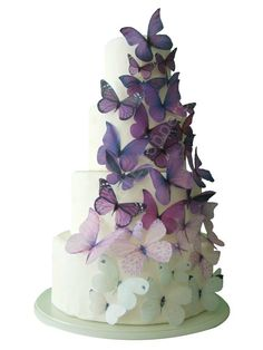CAKE TOPPER - 40 Ombre Edible Butterflies in Purple - Wedding Cake, Cake Decorations, Cake Supply. $28.95, via Etsy.