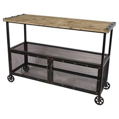 Anderson Console. So cool and industrial. Loving the weathered wood and the metal mesh. Great textures