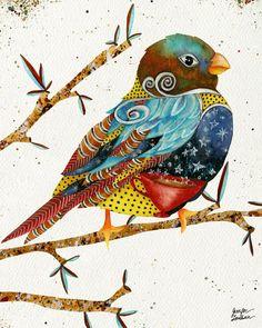 Twilight Bird Art Print by Jennifer Lambein. Bird Illustration, Illustrations, Creation Art, Bird Quilt, Bird Drawings, Fabric Art, Medium Art, Painting Inspiration, Collage Art