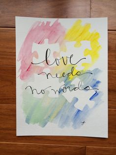 Autism love needs no words by ginisis on Etsy, $16.50 April is Autism Awareness Month