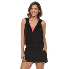 Women's Beach Scene Hooded French Terry Romper Cover-Up, Size: Large, Black