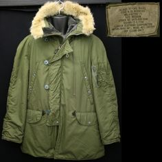 Vietnam USAF vintage N-3B parka, excellent condition with a strong color, nice plush real fur trimmed hood with a Scovill zipper.