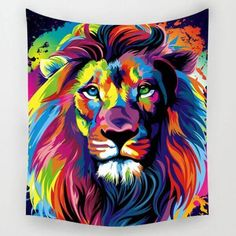Beautiful African Lion Tapestry Wall Art or Towel - Roots and Sticks Lion Tapestry, Elephant Tapestry, Boho Tapestry, Mandala Tapestry, Tree Canvas, Canvas Wall Art, Pop Art, Lion Wall Art, Watercolor Paintings