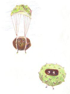 falling chestnuts Illustration, Illustrations