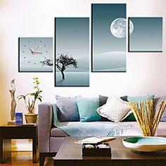 horloge moderne de mur d'arbre solitaire dans la toile 4pcs