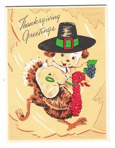 Vintage Little Pilgrim Dog Riding Turkey Thanksgiving Greeting Card