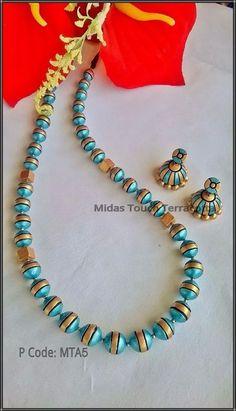 Ggh Paper Bead Jewelry, Thread Jewellery, Funky Jewelry, Ceramic Jewelry, Fabric Jewelry, Beaded Jewelry, Handmade Jewelry, Terracotta Jewellery Making, Terracotta Jewellery Designs