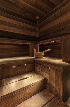 thermo_magnolia_panels_and_bench (4) Sauna Lights, Sauna Design, Outdoor Sauna, Finnish Sauna, Bathroom Vanity Units, Spa Rooms, Saunas, Forest House, Luxury Spa