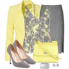 Lemon Yellow and Gray by snickersmother on Polyvore featuring Dorothy Perkins, Reiss, Sergio Rossi, Dolce&Gabbana, Express, Monique Péan and Vince Camuto