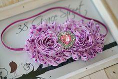 Valentine's Day shabby flower headband by 38 Grace Street on Etsy, $7.95