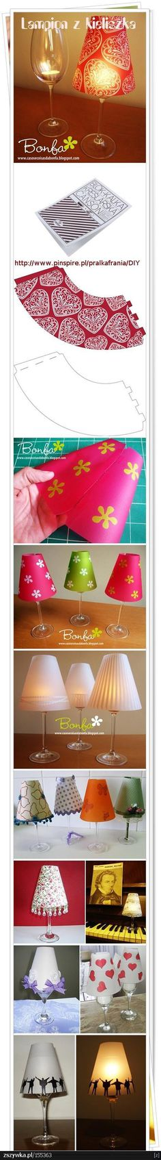 wine glass + candle+ lampshade= mini cheap lamp ( and can be used in power…