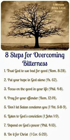8 Steps for overcoming bitterness, Bible Love Notes: 8 Steps to Overcome Bitterness Hope In God, God Is Good, God Is For Me, Beautiful Words, Bible Love, Life Quotes Love, Happy Quotes, Love Notes, Bible Scriptures