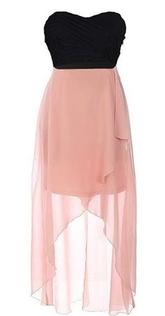 Crossed Romance Dress: Features a chic strapless cut with ultra romantic sweetheart neckline, texture-loaded pleated bodice with rear cutouts and crossover bandage design, beautiful semi-sheer chiffon skirt with thigh-length liner for perfect coverage, and a flattering high-low hem to finish.