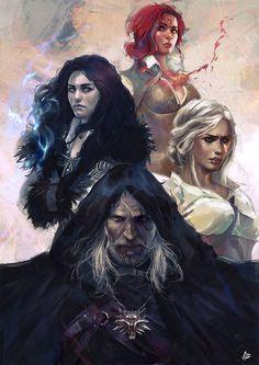 The witcher. Geralt Ciri Yen and Triss.
