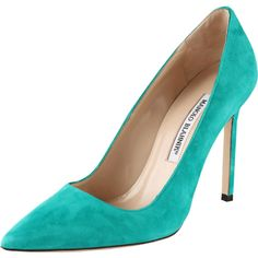 MANOLO BLAHNIK Classic Suede Pump ($595) ❤ liked on Polyvore
