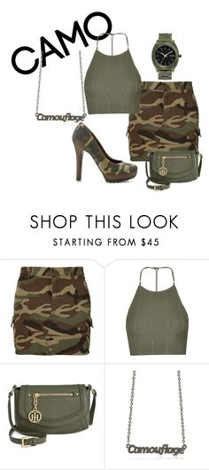 """""""camouflage done right"""" by mikaela-foreman on Polyvore featuring Yves Saint Laurent, Topshop, Tommy Hilfiger, Patrizia Pepe, Nixon and camostyle"""