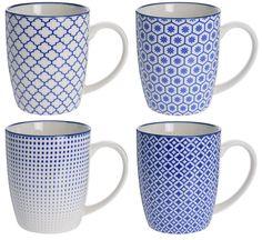 Set of 4 White Porcelain Geometric Mugs. Lovely Blue & White Coffee mugs #Koop #FrenchCountry