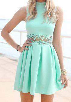 Mint Lace Waist Dress- Sleeveless Mint Lace Waist Dress
