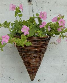 "flowers for cone shaped hanging baskets | York Garden Centre 12"" Willow Cone Hanging Basket"