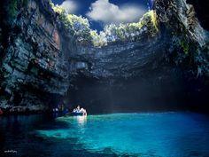 Visit Greece| Melissani #lake in Kefalonia #island #cave