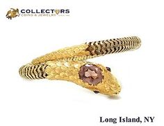 1847 Antique Victorian 14K Yellow Gold Amethyst Garnet Snake Serpent Bracelet #antique #victorian #14K #yellow #gold #amethyst #garnet #snake #serpent #bracelet #fashion #jewelry