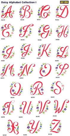 Sweet Free Embroidery: Daisy Alphabet Free Embroidery