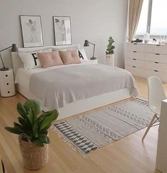 Grey pink and white bedroom - Is To Me