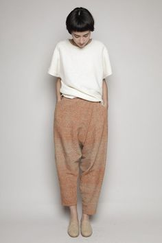 Totokaelo - Anntian - Drop Crotch Pant - Brown/Beige