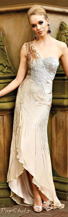 """Terani Couture Shimmering Gold Gown  ✮✮Feel free to share on Pinterest"""" ♥ღ www.WEDDINGRECEPTIONIDEA.ORG"""