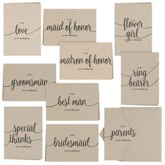 Buy just one set and say thank you to your entire wedding party...Kraft Wedding Party Thank you Card Set...Rustic Weddings..Woodland Weddings..Barn..Western and