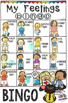 Explore feelings with this fun 4x4 bingo game that helps kids identify emotions. Perfect to use for whole group or small group sessions! #elementaryschoolcounseling #SEL #socialemotionallearning Group Therapy Activities, Feelings Activities, Counseling Activities, Play Therapy, Sensory Activities, Elementary School Counseling, School Counselor, Elementary Schools, Teaching Social Skills