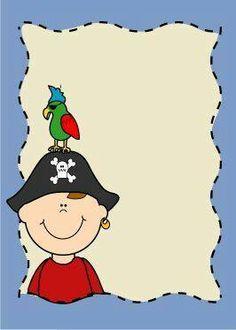 schrijfblad; Piraat met papegaai