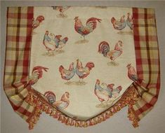 French Country Roosters Balloon Shade VALANCE Curtains French - French country valances