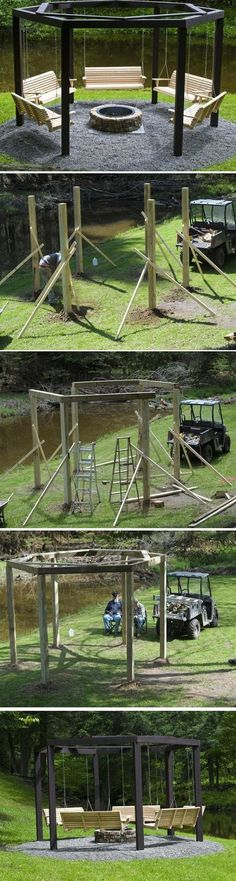 [This is pretty cool] Awesome Fire Pit Swing Set. Ideas for garden and backyard swings Backyard Projects, Outdoor Projects, Backyard Ideas, Backyard Swings, Backyard Layout, Porch Ideas, Backyard Pergola, Backyard Shade, Pergola Swing