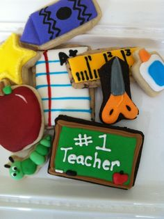 Teacher appreciation cookies!  Available www.beeliciousbakery.com