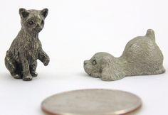 Vintage Pewter Miniature Collectible Puppy And Kitten Figurine Dollhouse Animal…